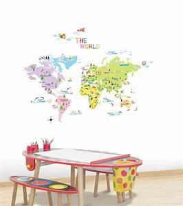 Carte Du Monde Sticker : sticker carte du monde stickers enfants ambiance ~ Dode.kayakingforconservation.com Idées de Décoration