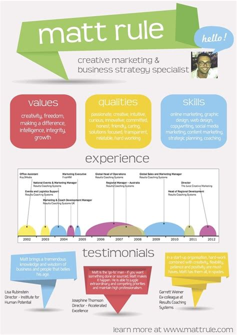 Visual Resume Creator by Great Visual Resume Infographic Resume With Solid Color