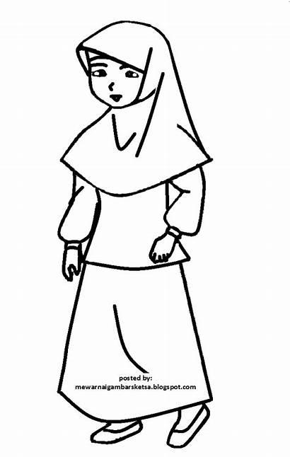 Mewarnai Gambar Muslimah Sketsa Kartun Anak Berhijab
