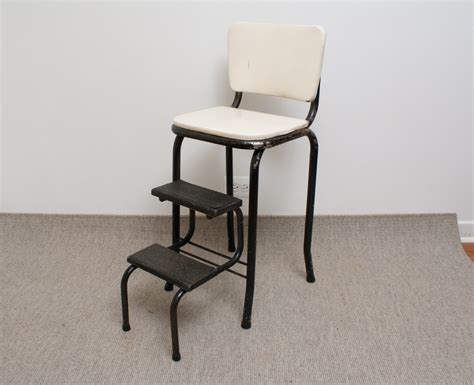 Cosco Step Stool Chair by Vintage Cosco Kitchen Chair Step Stool Black And White