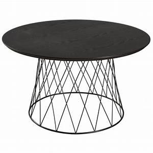 Table Basse Bois Et Noir : table basse ronde r tro bois et pied rond m tal noir tiges crois es 80x80x46cm landaise ~ Teatrodelosmanantiales.com Idées de Décoration