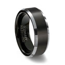 tungsten wedding rings brushed black tungsten carbide ring polished beveled band