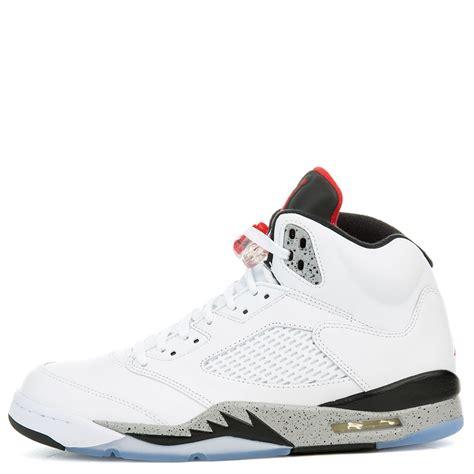 Air Jordan 5 White Cement Whiteuniversity Red Black Matte