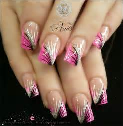 Hot pink black white silver nails sculptured acrylic with neon