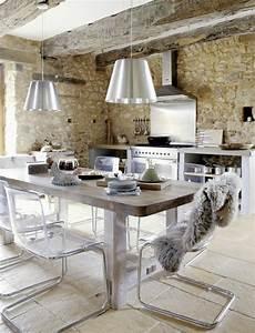 le mur en pierre apparente en 57 photos With cuisine avec mur en pierre