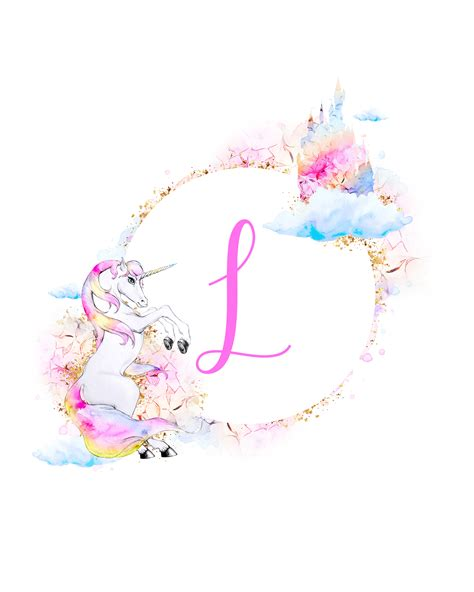 unicorn printable monograms collection  cottage market