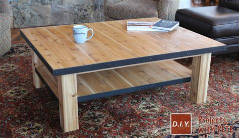 how to make a wood coffee table with steel accents