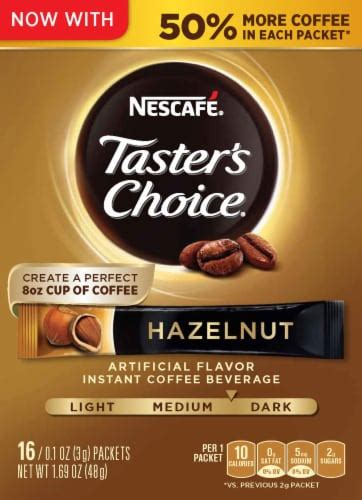 Take nescafe coffee powder and sugar in a cup. Smith's Food and Drug - Nescafe Taster's Choice Hazelnut Instant Coffee Packets, 16 ct / 0.1 oz