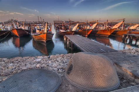 Fishing Boat Qatar by Photo 1173 08 Dhow Fishing Boats In Harbor In Al Wakra At