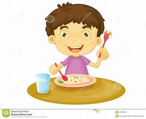 Boy Eating Dinner Clipart
