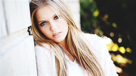 wallpaper face model blonde long hair dress fashion