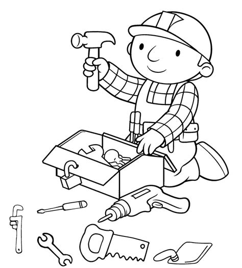 toolbox coloring page bob the builder preparing tools coloring page coloring