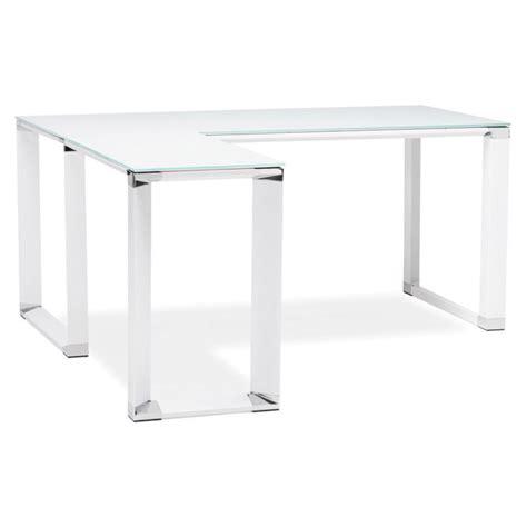 bureau verre blanc bureau d 39 angle design quot hovik quot verre blanc