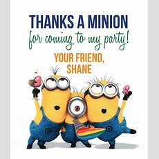 Minions Thank You Tags  Birthday Theme  Despicable Me  Minions  Minion Thank You, Thank You
