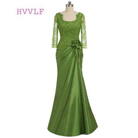green  mother   bride dresses mermaid  sleeves
