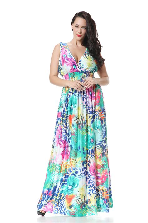 Oversize Deep V Neck Women Colorful Beach Vacation ...