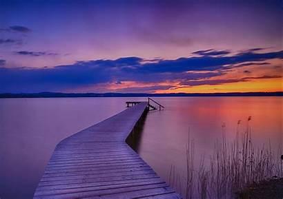 Dock Painting Sunset Endless Lake