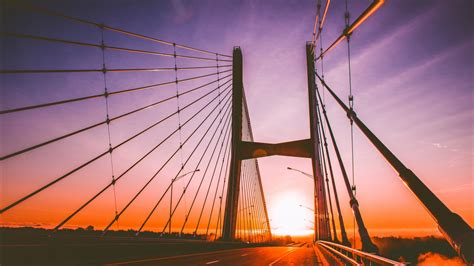 wallpaper sunset bridge cables hd  world