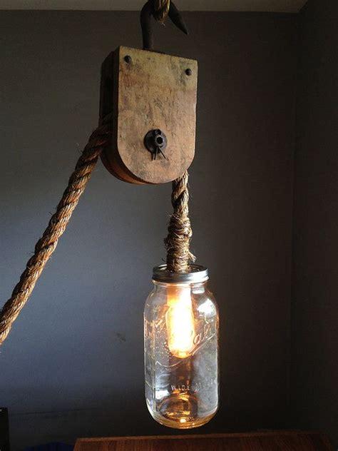 rustic ney pulley rope chandelier light w edison bulb