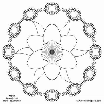 March Flower Birthstone Birth Mandala Month Coloring