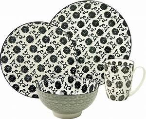 Geschirr Set Creatable : creatable single geschirr set steinzeug 4 teilig dekor flower new style black online ~ Sanjose-hotels-ca.com Haus und Dekorationen