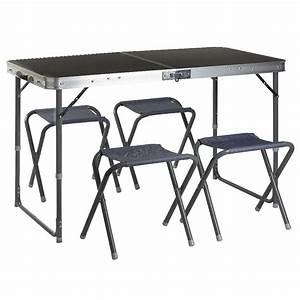 Table De Camping Gifi : table valise pique nique et 4 tabourets gris meuble de ~ Melissatoandfro.com Idées de Décoration