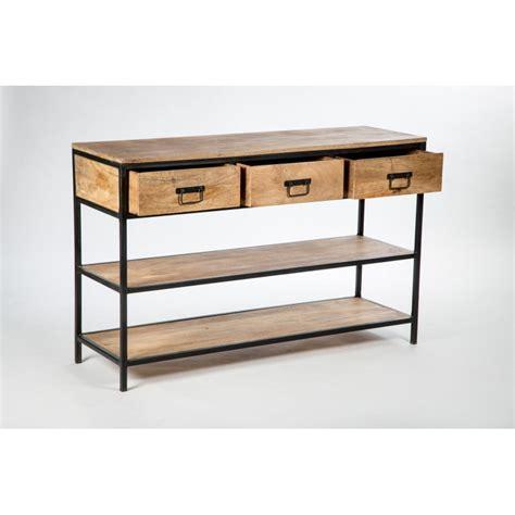 table de jardin et chaises console métal et bois à tiroirs
