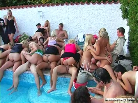 Group Sex Orgy Near The Pool