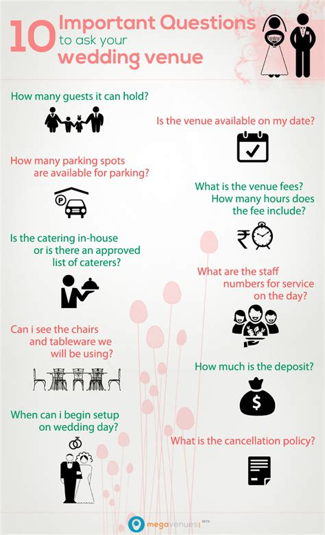 questions to ask wedding venue 10 important questions to ask your wedding venue visual ly