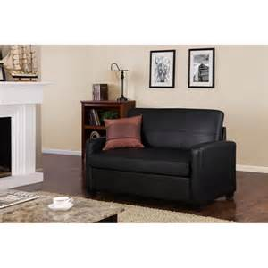 purchase the mainstays black faux leather sofa sleeper for