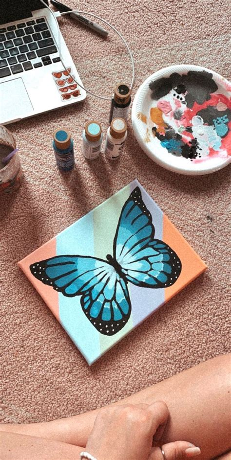 blue butterfly rainbow vsco canvas painting diy canvas