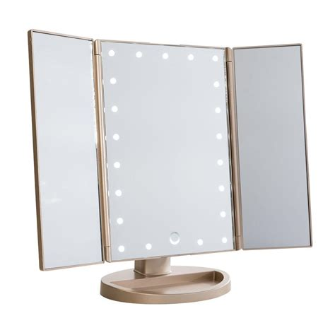 makeup light mirror impressions vanity touch trifold dimmable led makeup mirror