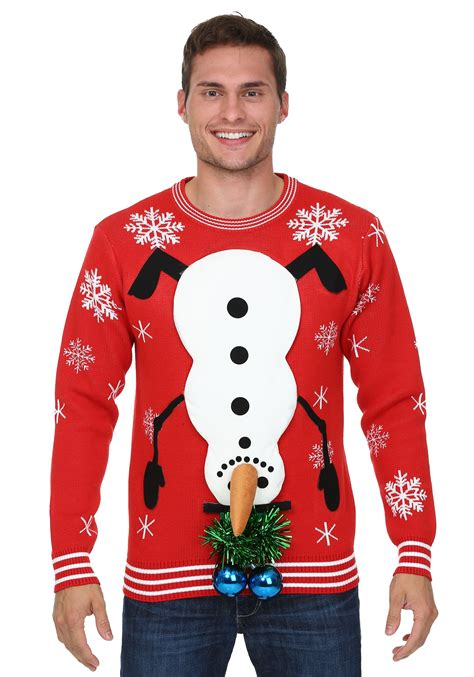 igly sweater snowman balls sweater