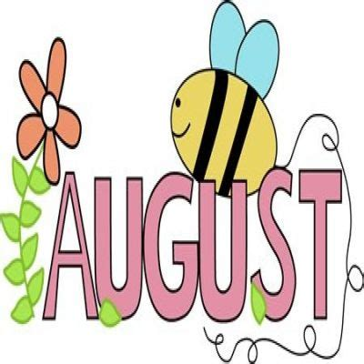 August Clip Month Of August Summer Clipart