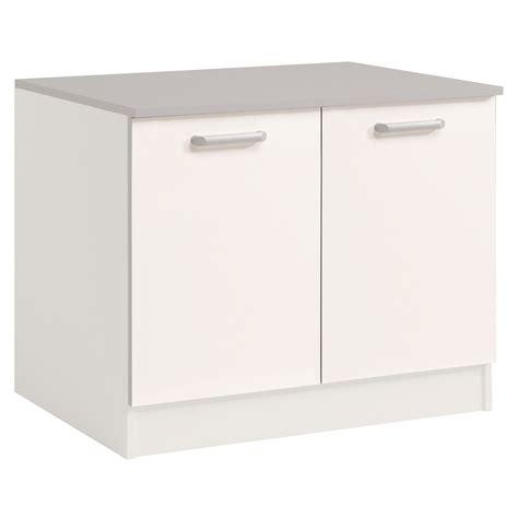meuble bas de cuisine but meuble bas de cuisine contemporain 120 cm 2 portes blanc