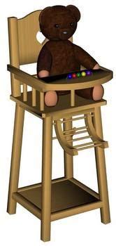 chaise haute pour poupée 3d model sharecg