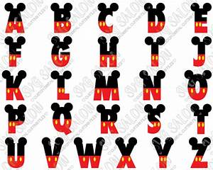 mickey mouse disney font svg cut file set in svg eps dxf With mickey mouse letter stencils