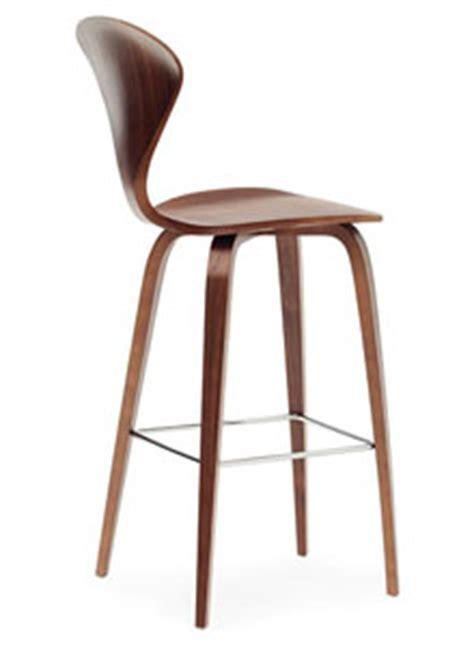 norman cherner counter bar stool wooden base  classic walnut stardust