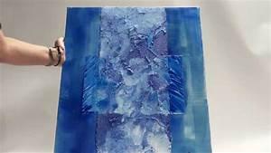 peindre un tableau en nuances de bleus youtube With peindre sur toile de verre