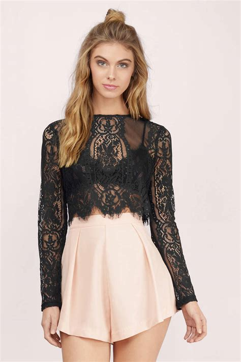 N Topi Black black top lace top lace top black crop top