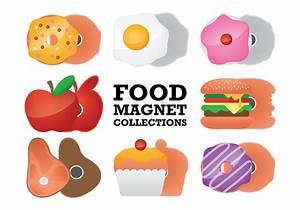 Food Fridge Magnet Collection Vectors