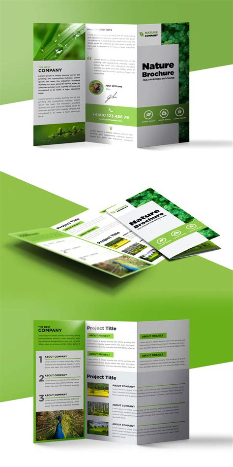 Free Template For Brochure by Nature Tri Fold Brochure Template Free Psd Psdfreebies
