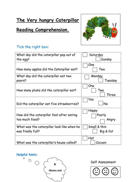 the hungry caterpillar reading comprehension by kayld