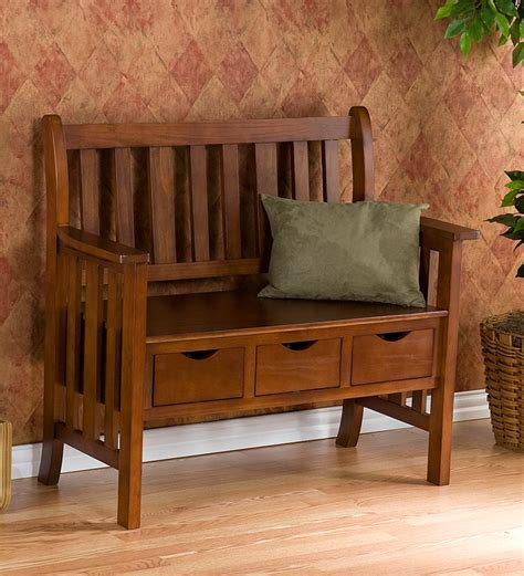 indoor wood storage craftsman style bench mission style