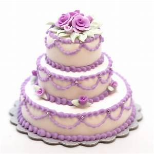 Minature Triple Layer Cake w/lavender roses Stewart