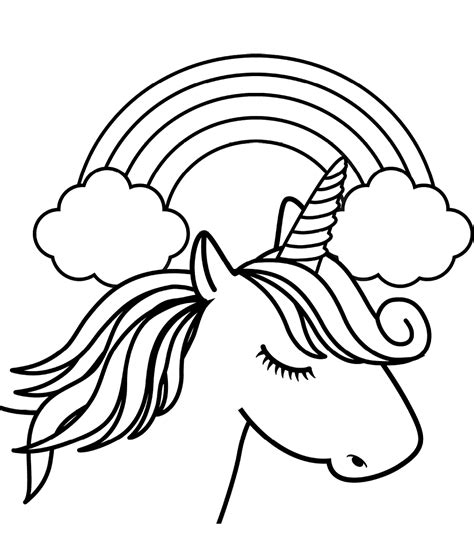 unicorn head  front  rainbow coloring page