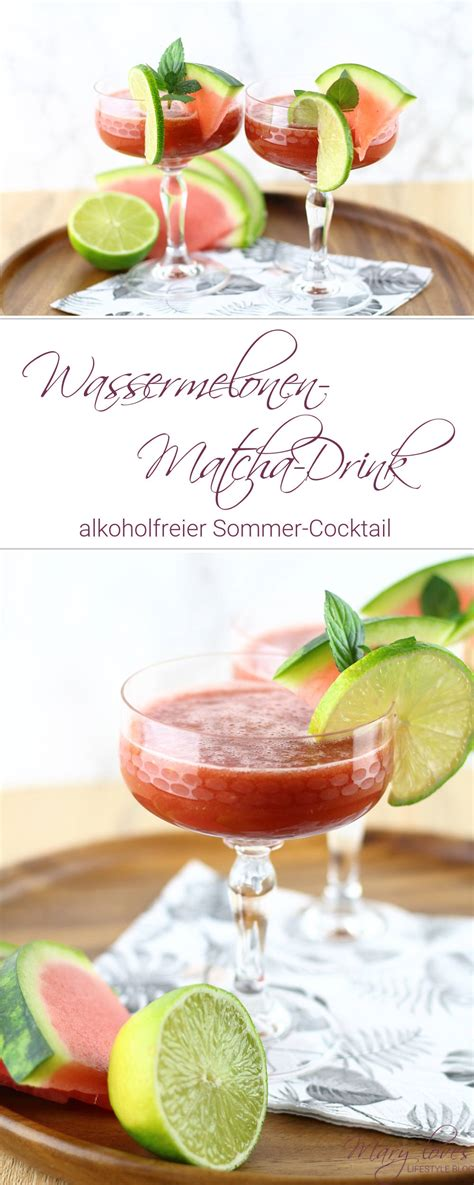 wassermelone cocktail alkoholfrei alkoholfreier sommer cocktail wassermelonen matcha drink