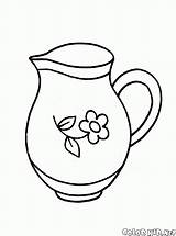Coloring Dishes Pitcher Children Young sketch template