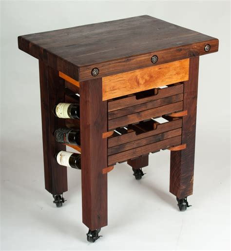 cherry butcher block island hand made walnut and cherry butcher block island wine rack by walnut wood works custommade com