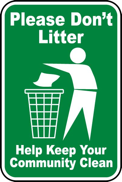 Please Don't Litter Sign F2642  By Safetysigncom